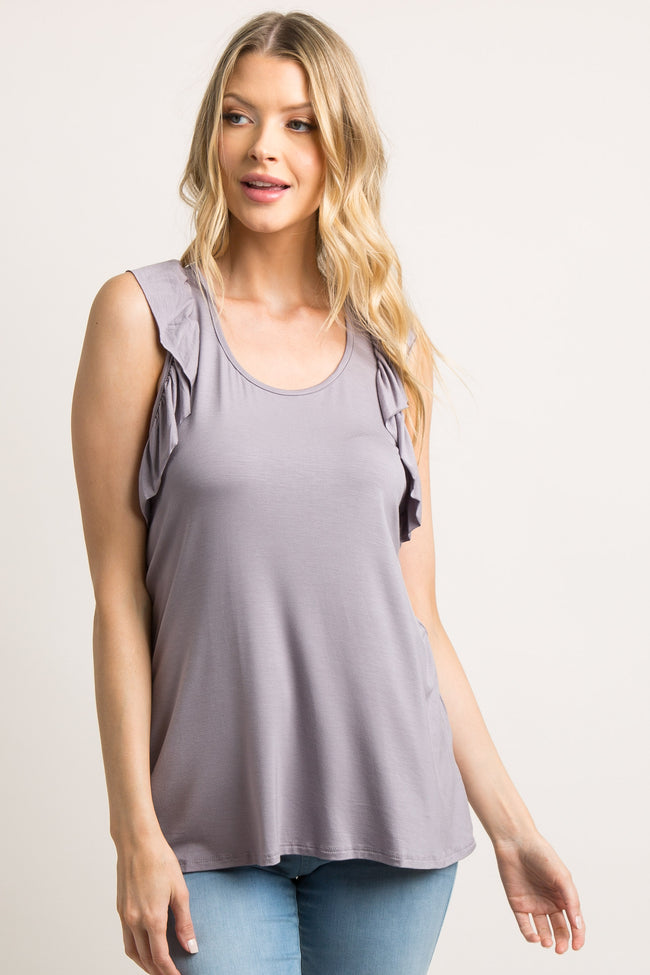 Lavender Ruffle Racer Back Tank Top