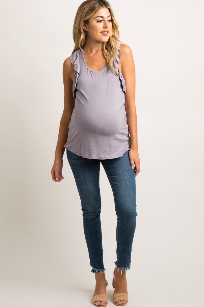 Lavender Ruffle Racer Back Maternity Tank Top