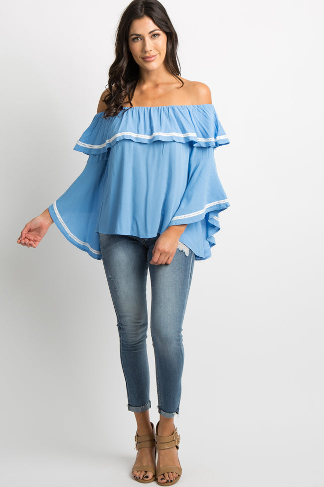 Blue Off Shoulder Ruffle Bell Sleeves Top