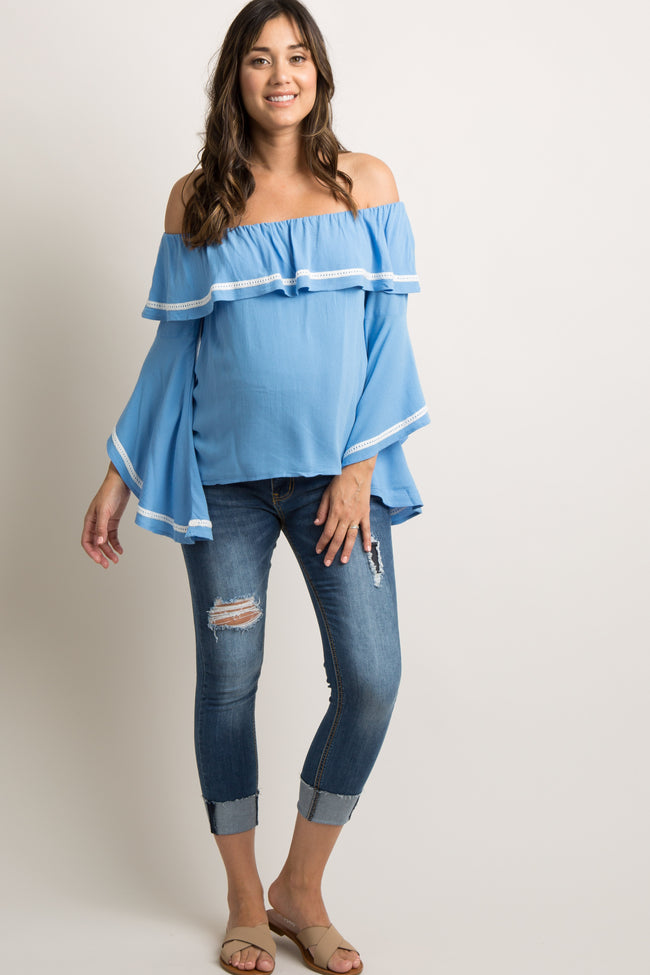 Blue Off Shoulder Ruffle Bell Sleeves Maternity Top