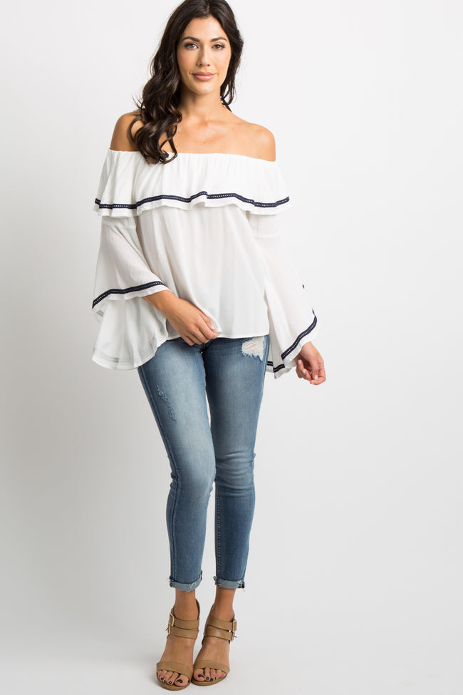 White Off Shoulder Ruffle Bell Sleeves Top
