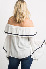 White Off Shoulder Ruffle Bell Sleeves Maternity Top