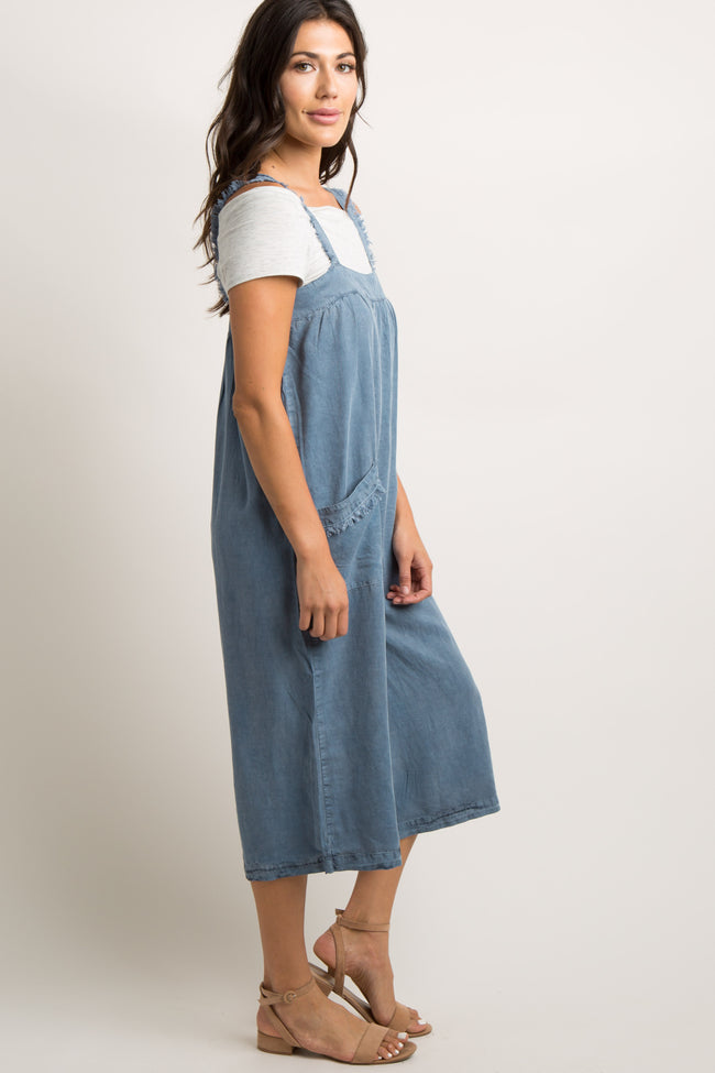 Blue Chambray Frayed Cropped Jumpsuit