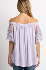 Lilac Crochet Accent Off Shoulder Maternity Top