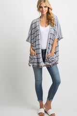Blue Striped Tassel Trim Dolman Cover Up