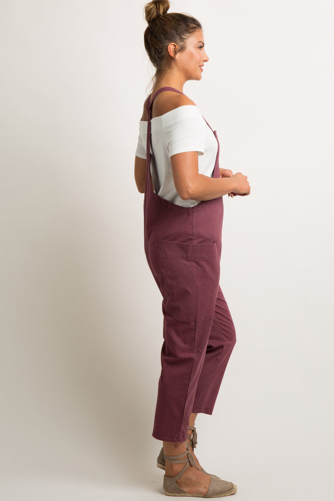 Burgundy Linen Side Pocket Overalls