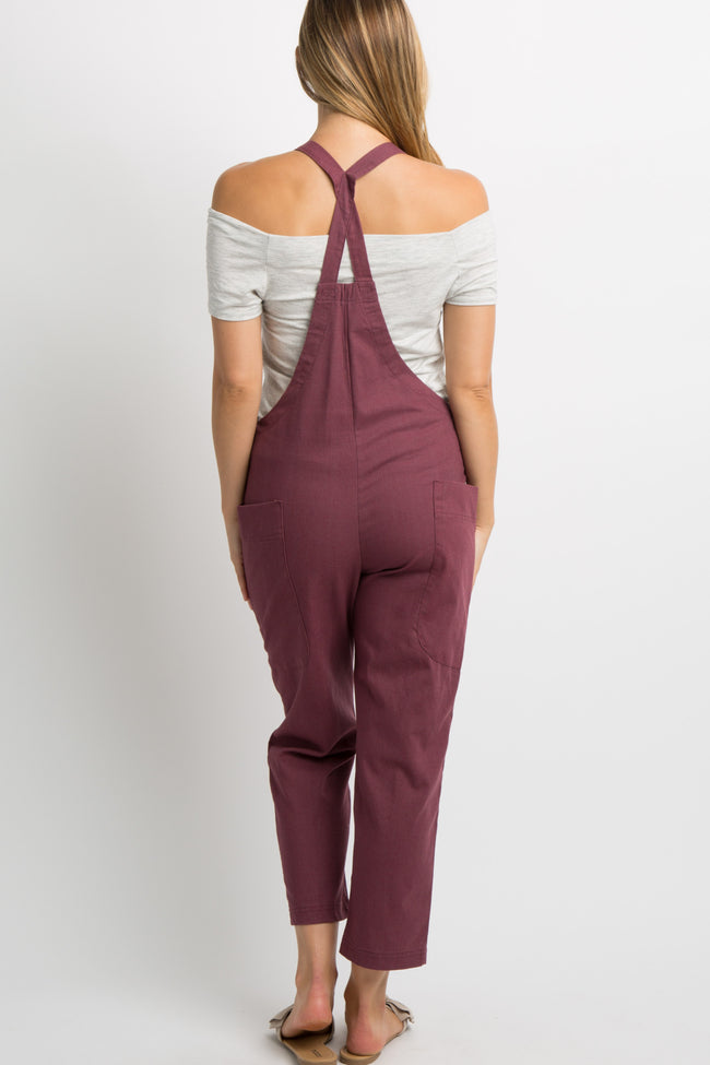 Burgundy Linen Side Pocket Maternity Overalls
