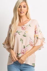 Peach Floral Wrap Bell Sleeve Top