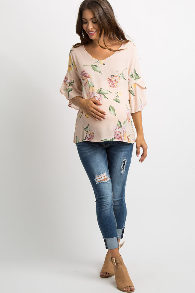 Peach Floral Wrap Bell Sleeve Maternity Top