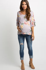 Lavender Floral Wrap Sleeve Maternity Top