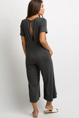 Charcoal Grey Cutout Back Pocketed Maternity Jumpsuit
