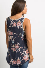 Navy Blue Floral Crochet Trim Sleeveless Maternity Top