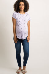 Lavender Polka Dot Short Sleeve Maternity Top