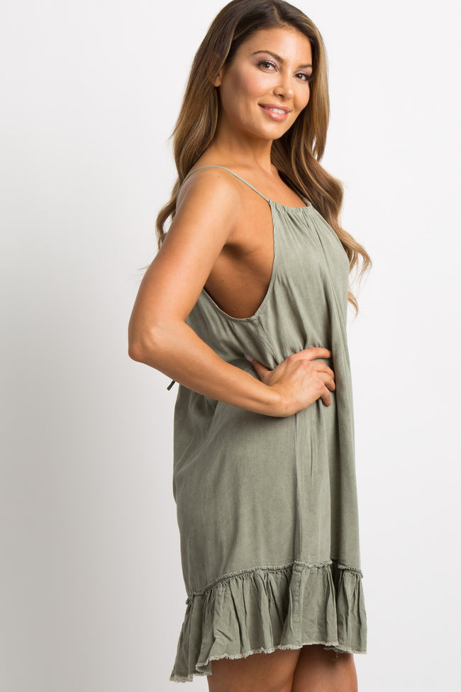 Olive Green Ruffle Fringe Trim Halter Dress