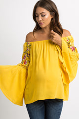 Yellow Floral Embroidery Off Shoulder Maternity Top