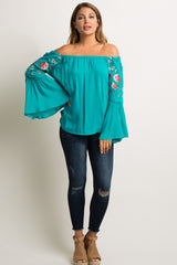 Teal Floral Embroidery Off Shoulder Maternity Top