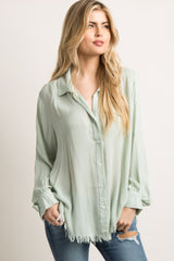 Mint Green Frayed Long Sleeve Button Up Top