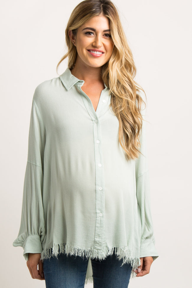 Mint Green Frayed Long Sleeve Button Up Maternity Top