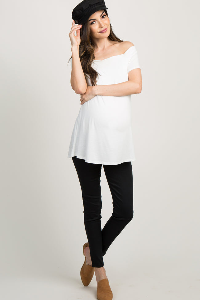 Black Solid Basic Maternity Jeggings