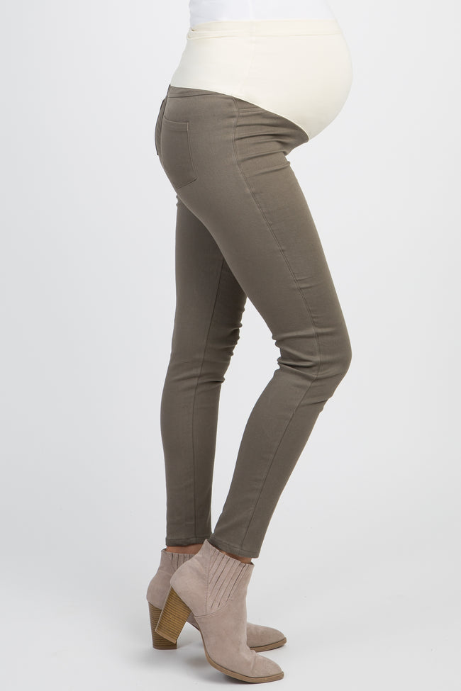 Olive Green Solid Basic Maternity Jeggings