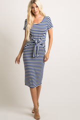 Navy Blue Striped Tie Front Maternity Midi Dress