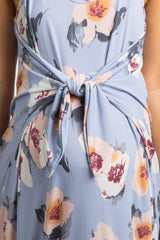 Light Blue Floral Knot Front Maternity Midi Dress