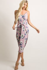 Mauve Floral Knot Front Midi Dress