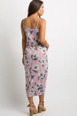Mauve Floral Knot Front Maternity Midi Dress
