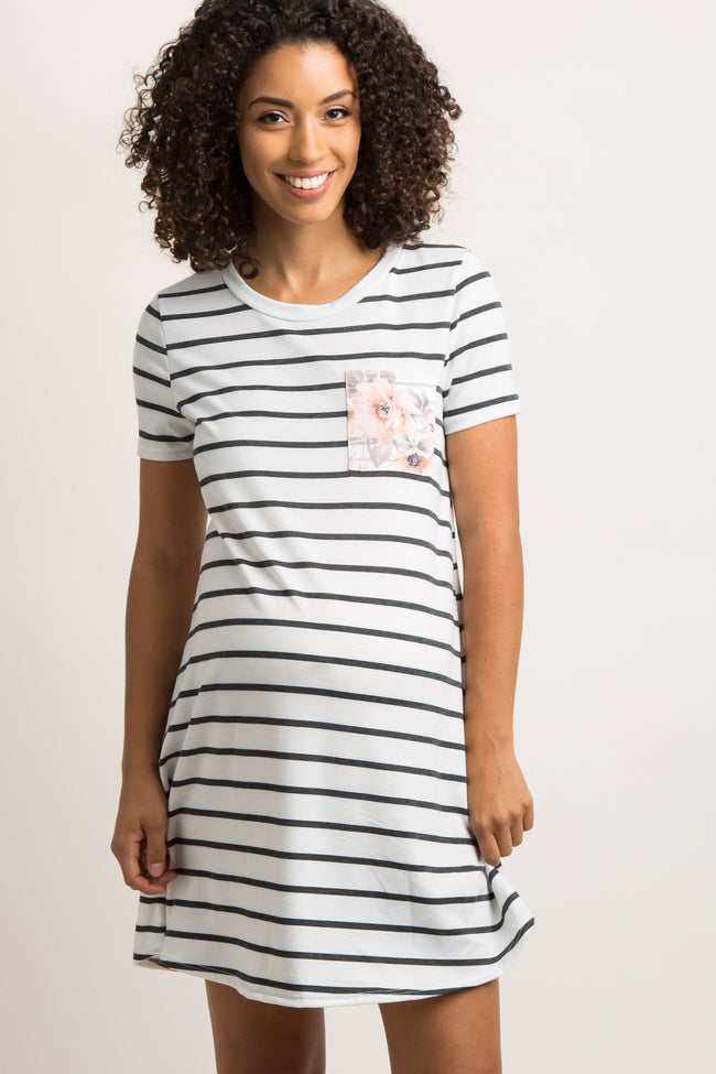 White Striped Floral Pocket Maternity Dress