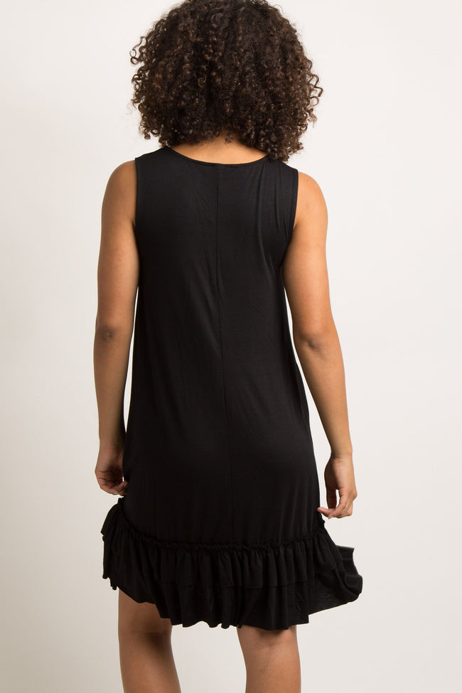 Black Sleeveless Ruffle Trim Maternity Dress