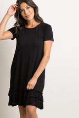 Black Solid Ruffle Trim Short Sleeve Dress