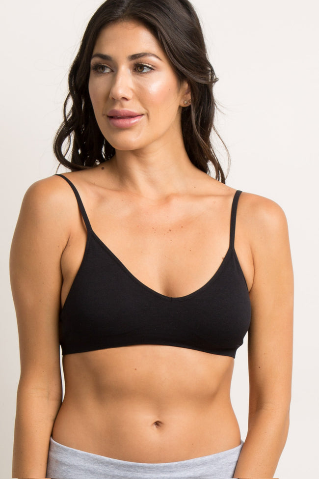 Black Seamless V-Neck Bralette