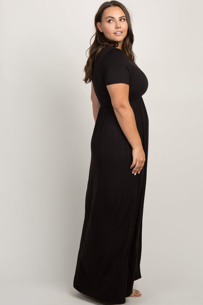 Black Solid Short Sleeve Plus Maxi Dress