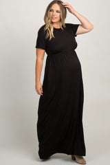 Black Solid Short Sleeve Maternity Plus Maxi Dress