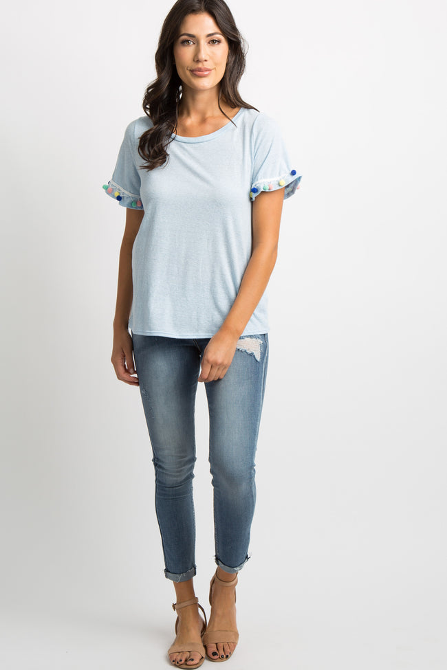 Blue Pom Trim Short Sleeve Top