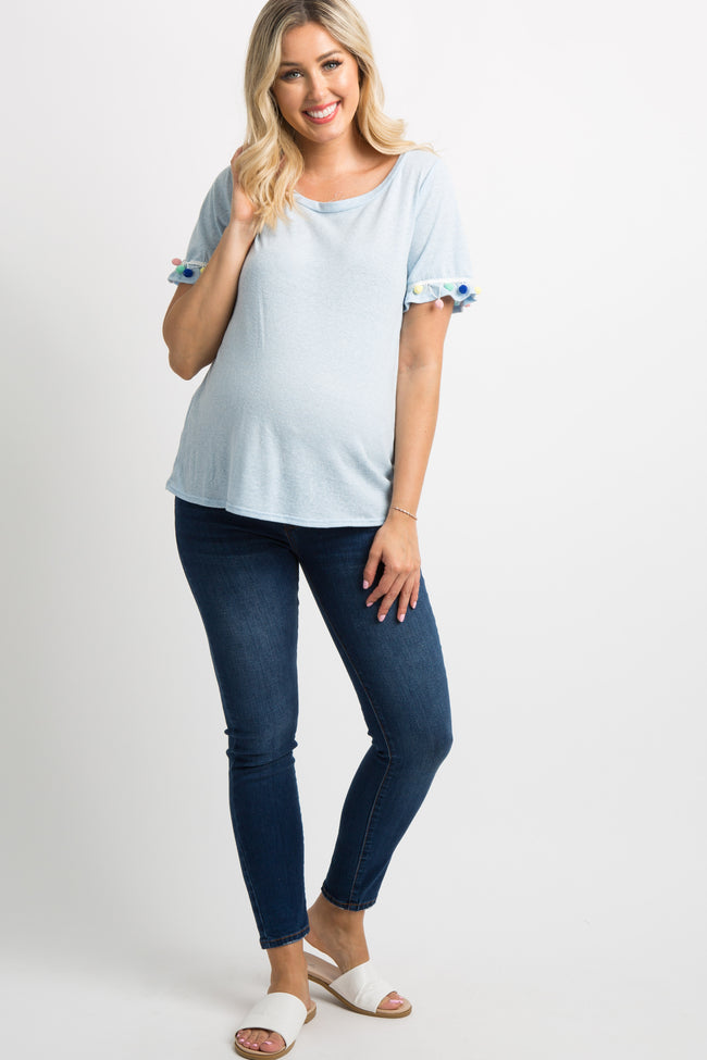 Blue Pom Trim Short Sleeve Maternity Top