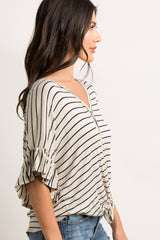 Beige Striped Button Down Front Top