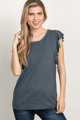 Charcoal Grey Heathered Maternity Top