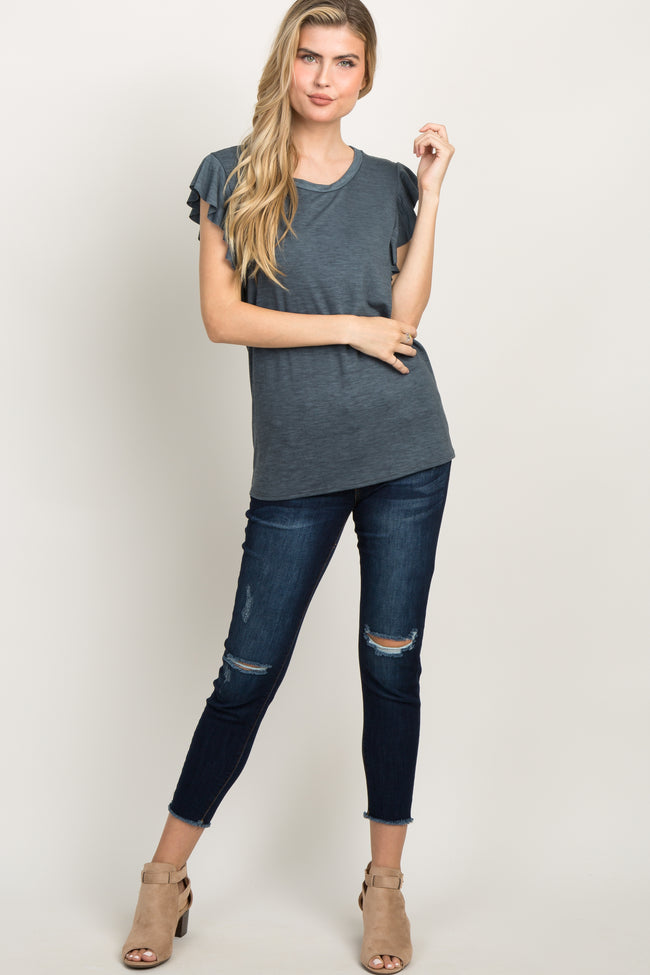 Charcoal Grey Heathered Butterfly Sleeve Top