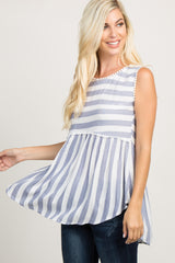 Blue Crochet Striped Top