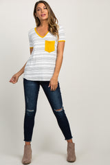 Yellow Striped Pocket Accent Maternity Top