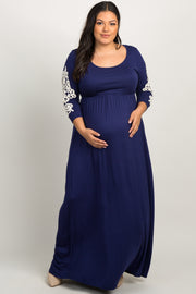 Navy Blue Crochet Sleeve Plus Maternity Maxi Dress