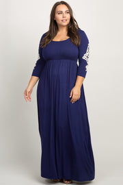 Navy Blue Crochet Sleeve Plus Maxi Dress