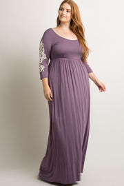 Purple Crochet Sleeve Plus Maxi Dress