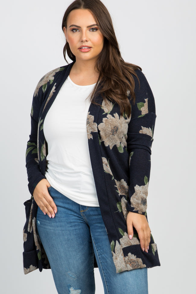 Navy Floral Knit Plus Maternity Cardigan