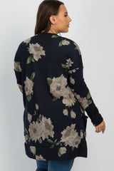 Navy Floral Knit Plus Cardigan