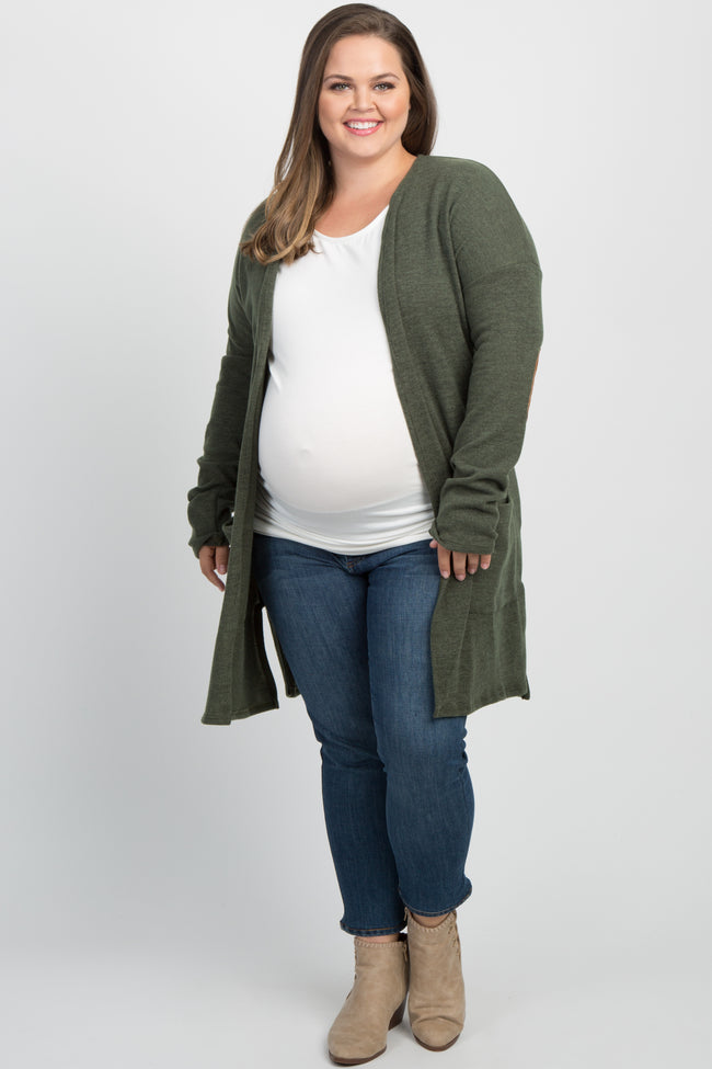 Olive Quilted Elbow Long Sleeve Plus Maternity Cardigan