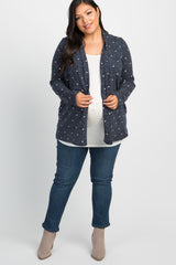 Navy Polka Dot Suede Elbow Patch Plus Maternity Cardigan