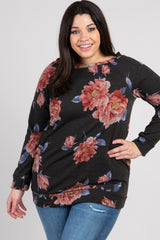 Black Rose Floral Boat Neck Plus Maternity Sweater