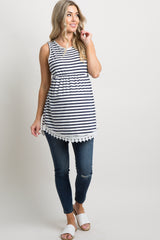 PinkBlush Navy Blue Striped Sleeveless Peplum Maternity Tunic